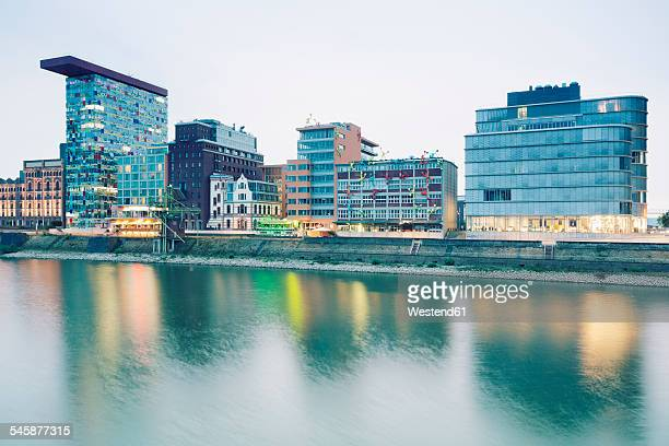 Germany, Dusseldorf, Media Harbour, Old warehouses at Julo Levin Ufer
