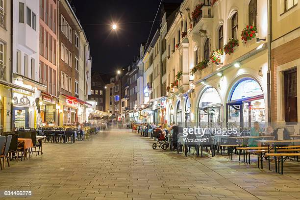 Germany, Dusseldorf, Old town, old houses, pavement restaurant at night
