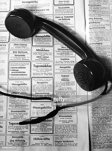 Germany earphone and newspaper job advertisments in the sixties