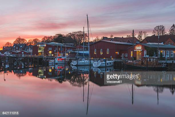 Germany, Eckernfoerde, Borby, harbour, afterglow