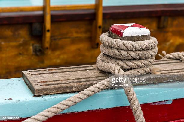 Germany, Eckernfoerde, rope on a sailing ship