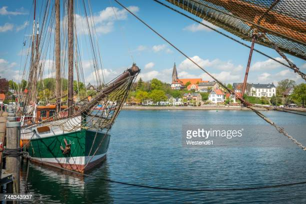 Germany, Eckernfoerde, view from harbor towards Borby church