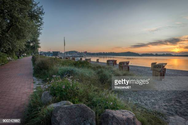 Germany, Eckernfoerde, view to Baltic sea and beach at sunrise
