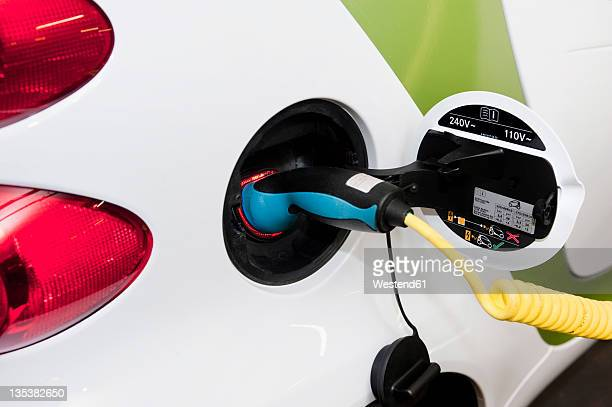 Germany, Electric car charging, close up