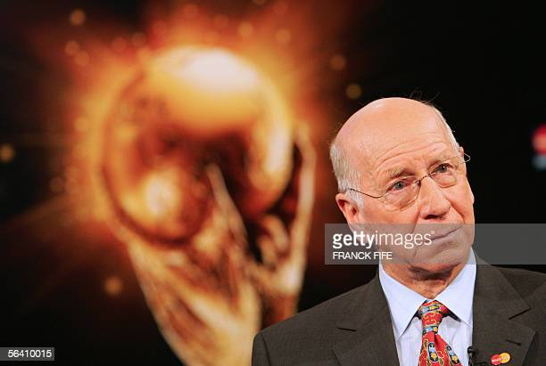 English football legend Sir Bobby Charlton poses for photographers on the day after the results of the final draw of the Fifa football World Cup 2006...