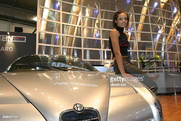 EMS Essen Motor Show International fair for automobiles tuning and classics presentation by a hostess