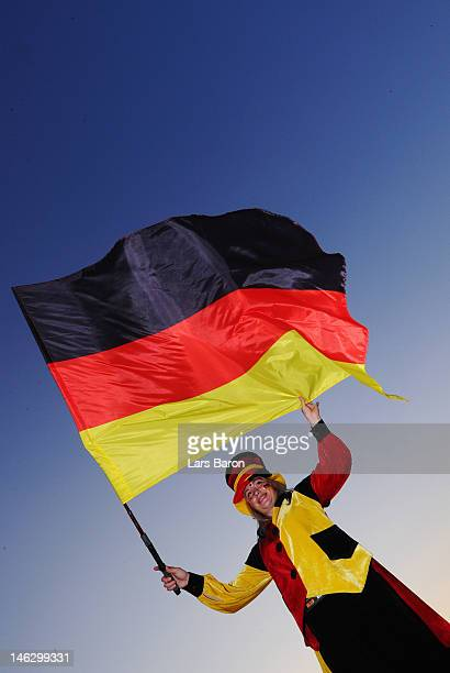 Germany fan enjoys the atmosphere during the UEFA EURO 2012 group B match between Netherlands and Germany at Metalist Stadium on June 13 2012 in...