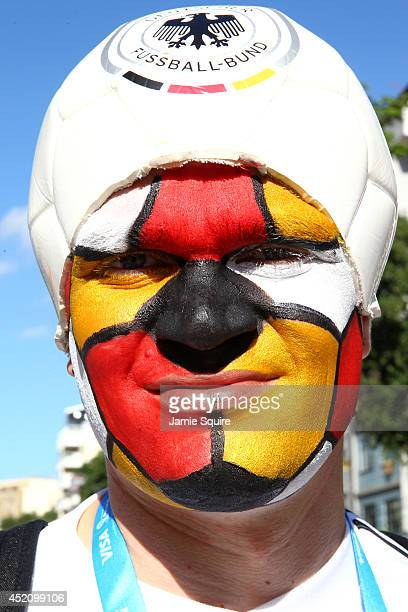 Germany fan enjoys the atmosphere prior to the 2014 FIFA World Cup Brazil Final match between Germany and Argentina at Maracana on July 13 2014 in...