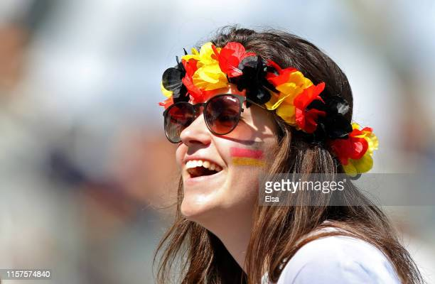 Germany fan enjoys the pre match atmosphere prior to the 2019 FIFA Women's World Cup France Round Of 16 match between Germany and Nigeria at Stade...