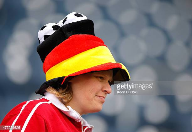 Germany fan looks on prior to the FIFA Women's World Cup Canada 2015 match between Thailand and Germany at Winnipeg Stadium on June 15 2015 in...