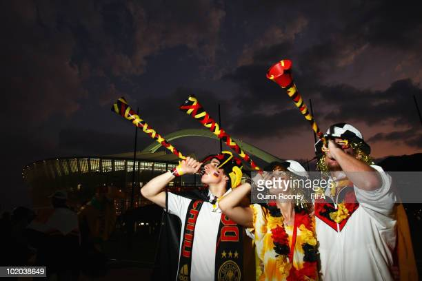 Germany fans blow vuvuzelas prior to the 2010 FIFA World Cup South Africa Group D match between Germany and Australia at Durban Stadium on June 13...