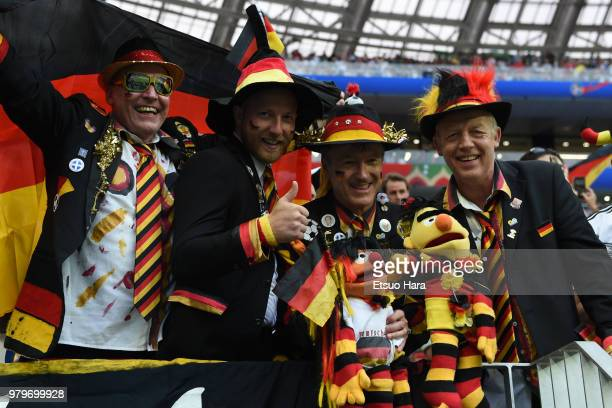 Germany fans cheer prior to the 2018 FIFA World Cup Russia group F match between Germany and Mexico at Luzhniki Stadium on June 17 2018 in Moscow...