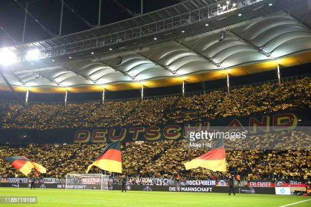 Germany fans create a tiffo display prior to the UEFA Euro 2020 Qualifier between Germany and Northern Ireland at Commerzbank Arena on November 19...