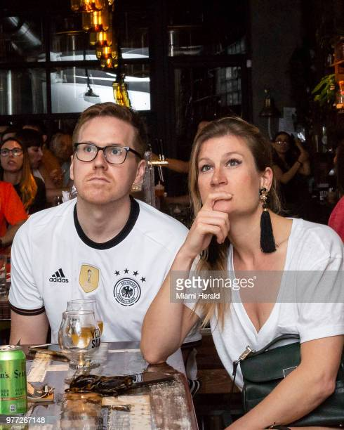 Germany fans Drew Bradylyons and Martha Leibell react to Germany losing to Mexico in the first round of the World Cup watching the game on Sunday...
