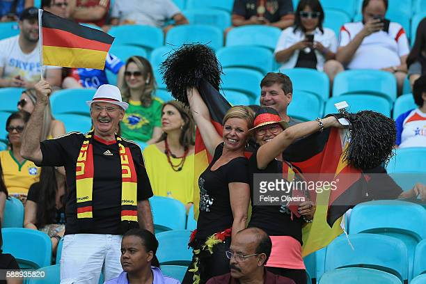 Germany fans enjoy the atmosphere during the Women's Football Quarterfinal match between China and Germany on Day 7 of the Rio 2016 Olympic Games at...