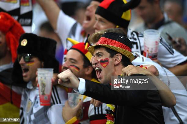 Germany fans react during the 2018 FIFA World Cup Russia group F match between Germany and Sweden at Fisht Stadium on June 23 2018 in Sochi Russia