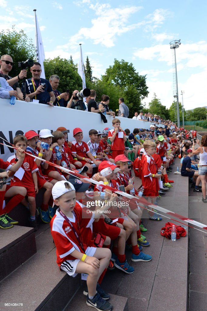 Germany fans shows thier support during training sechtion during the Southern Tyrol Training Camp day three at on May 25, 2018 in Bolzano, Italy.