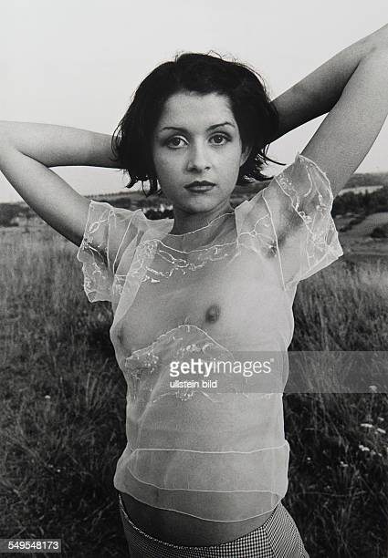 model posing in transparent dress