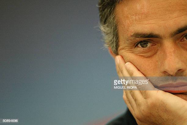 FC Porto coach Jose Mourinho gives a his press conference 25 May 2004 at the press center of the the Arena AufSchalke stadium in the western town of...
