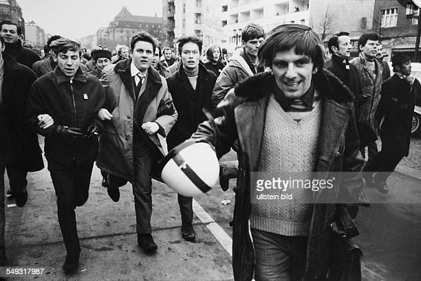 Germany February 1968 Vietnam Demonstration and student revolt in Berlin young people and Rudi Dutschke running through the street