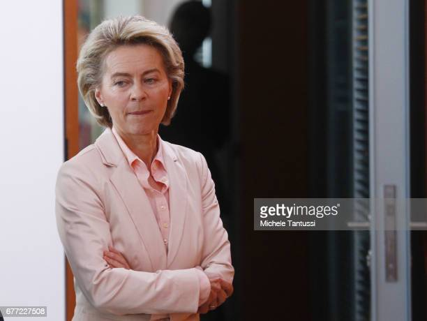 Germany Federal defense minister Ursula Von Der Leyen arrives for the weekly cabinet meeting in the German Chancellery on May 3 2017 in Berlin...