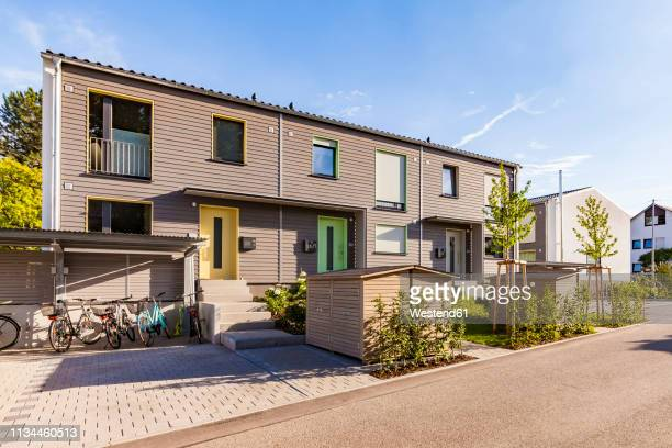 germany, fellbach, energy saving house development area - terraced_house stock pictures, royalty-free photos & images