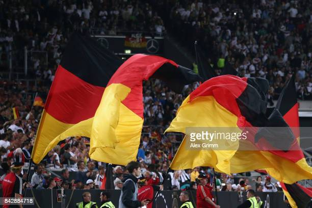 Germany flags are seen during the FIFA World Cup Russia 2018 Group C Qualifier between Germany and Norway at MercedesBenz Arena on September 4 2017...