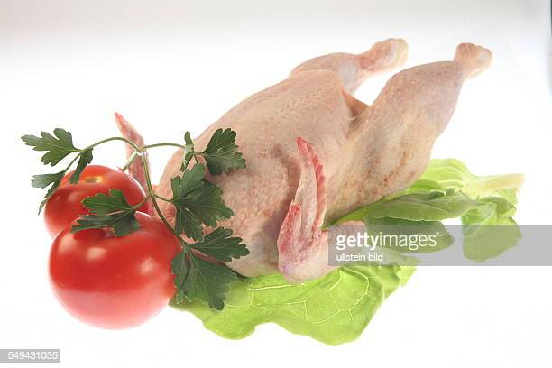 DEU Germany Food meat A chicken on lettuce with tomatoes