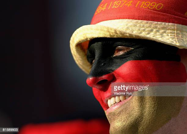 Germany football fan is seen during the public viewing of the UEFA EURO 2008 Group B match between Austria and Germany outside the KoelnArena on June...