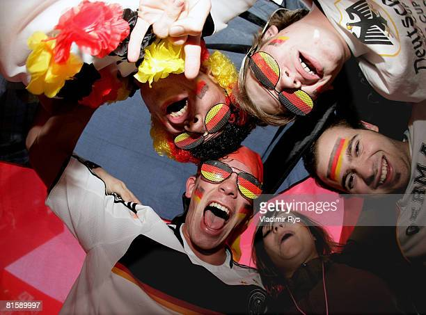 Germany football fans are seen during the public viewing of the UEFA EURO 2008 Group B match between Austria and Germany outside the KoelnArena on...
