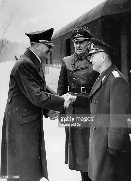 Germany Foreign Affairs GermanRomanian Meetings 1942 Adolf Hitler receipting Head of State Ion Antonescu at station of the Fuehrer's Headquarters...
