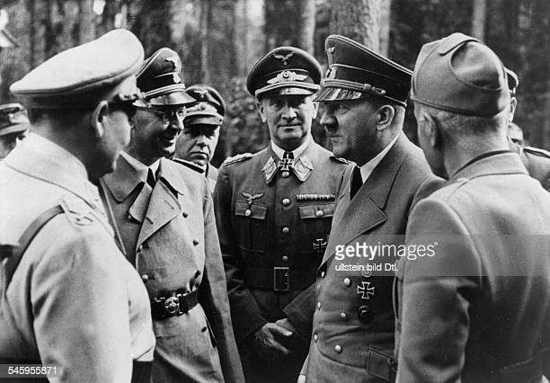 Germany Foreign Affairs meeting Hitler Mussolini in 'Wolfsschanze' close to Rastenburg after the assassination attempt Adolf Hitler and Benito...