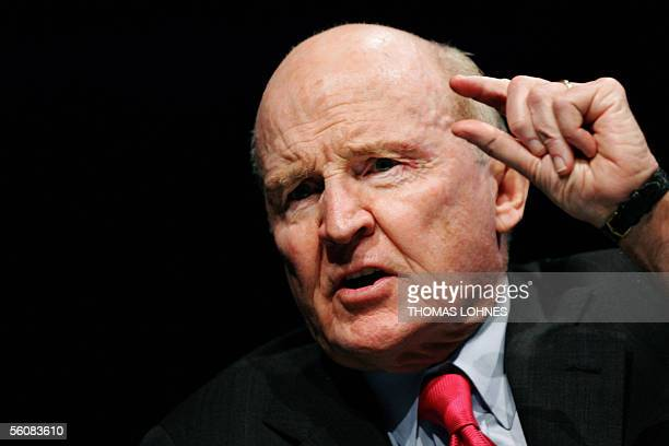 Former General Electric chairman Jack Welch gestures as he speaks on 04 November 2005 during the World Business Forum in Frankfurt/M The World...