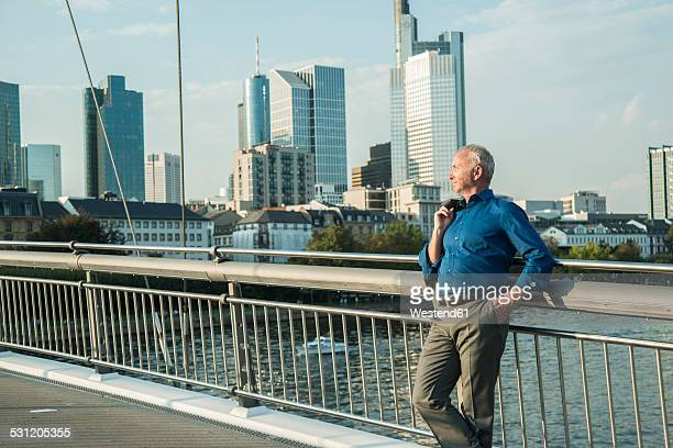 Germany, Frankfurt, businessman on bridge over river Main