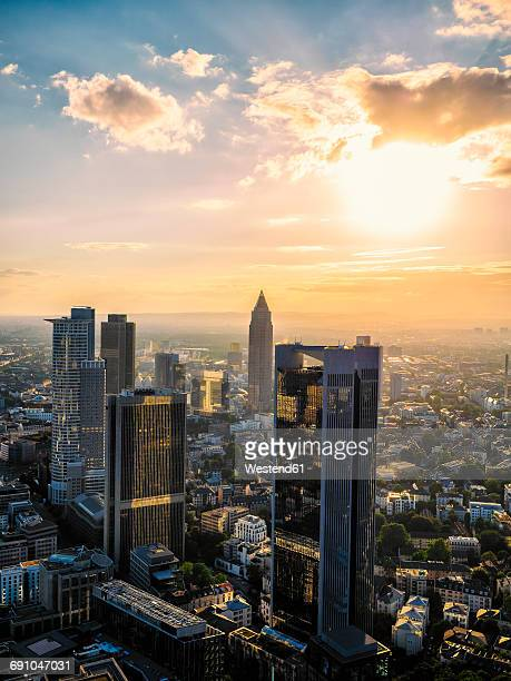 germany, frankfurt, city view at sunset seen from above - frankfurt main stock pictures, royalty-free photos & images