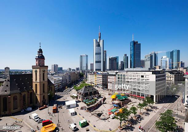 Germany, Frankfurt, cityscape with St. Catherines Church, Hauptwache and financial district