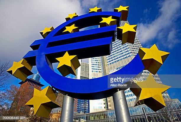 Germany, Frankfurt, euro sign, low angle view, (wide angle)