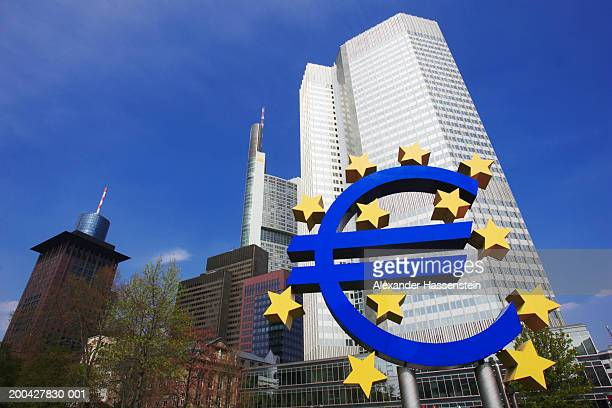 germany, frankfurt, european central bank, low angle - 欧州中央銀行 ストックフォトと画像