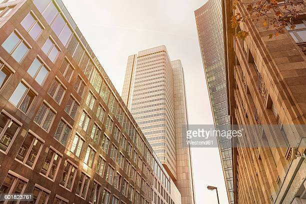 Germany, Frankfurt, facade of three office buildings seen from below