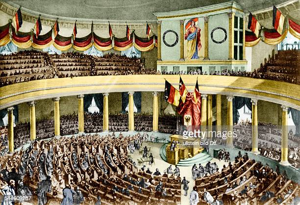 Germany Frankfurt German Revolution of 1848 first session of the newly elected Parliament at Paulskirche 17051848 Digitally colorized Original image...