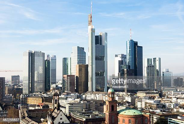 germany, frankfurt, hesse, skyline - frankfurt am main stock-fotos und bilder
