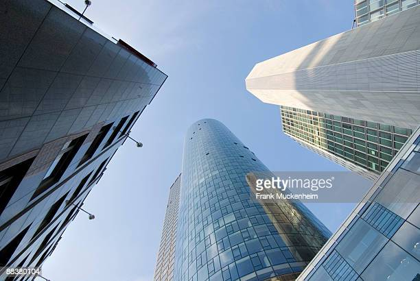 Germany, Frankfurt on the Main, Maintower and Garden Tower, low angle view