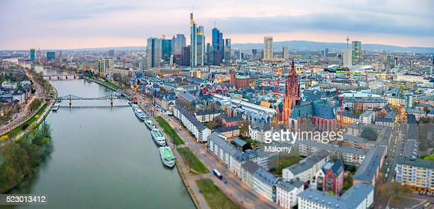 Germany, Frankfurt, River Main. Aerial view. Skyline of Frankfurts financial district in background. Cathedral in foreground.