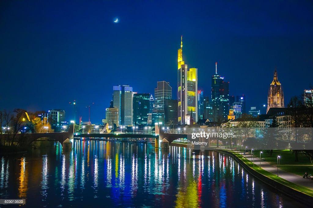 Germany Frankfurt River Main Skyline Of Financial District In - Frankfurt river
