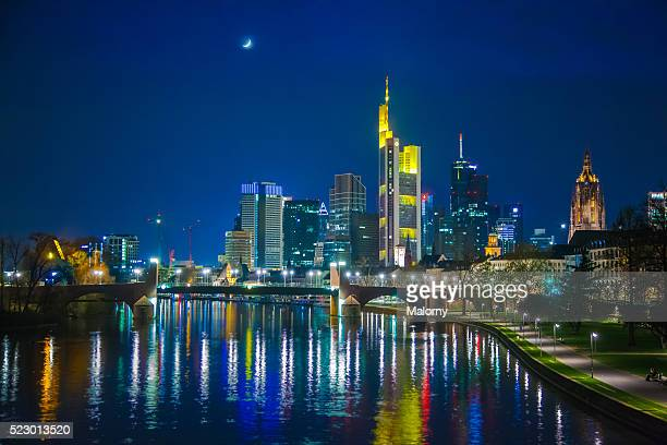 Germany, Frankfurt, River Main, skyline of financial district in background