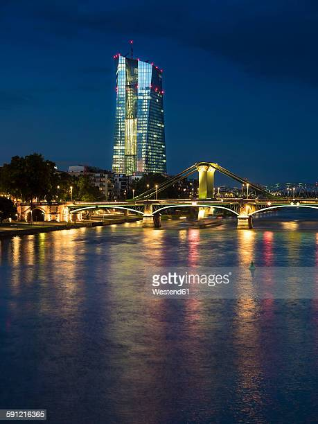 Germany, Frankfurt, River Main with European Central Bank, ECB, in the evening