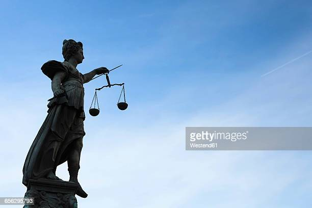 germany, frankfurt, sculpture of lady justice - lady justice stock pictures, royalty-free photos & images