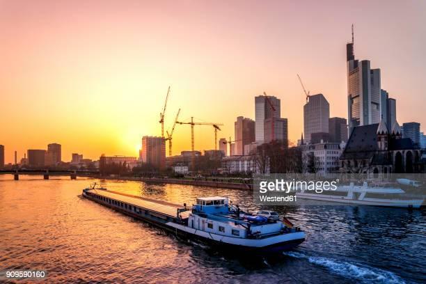 Germany, Frankfurt, skyline at sunrise