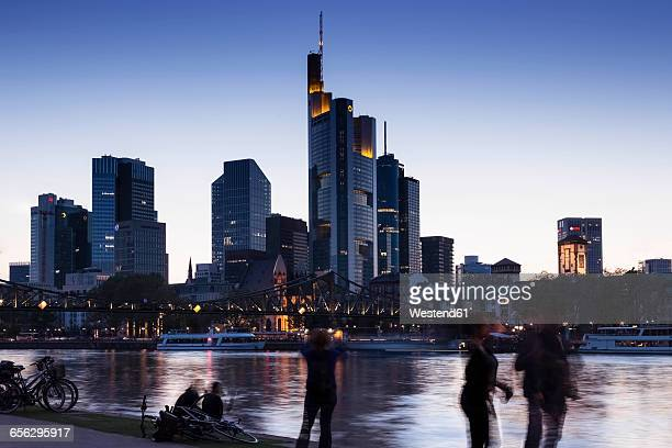 germany, frankfurt, skyline in the evening - frankfurt main stock pictures, royalty-free photos & images