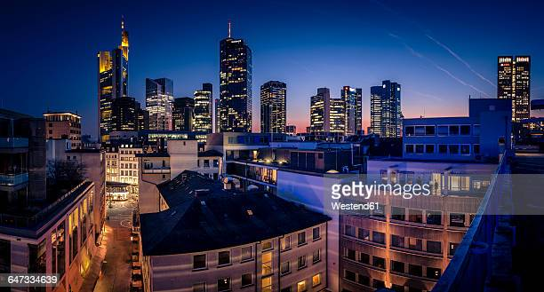 Germany, Frankfurt, Skyline of finanial district in the evening